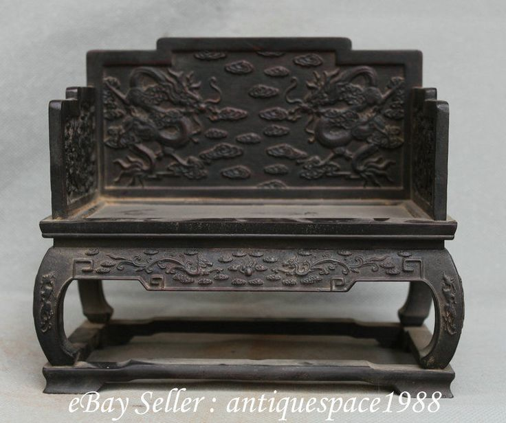 Antique Chinese Ebony Wood Dragon Phoenix Furnishings Small Chair Throne S