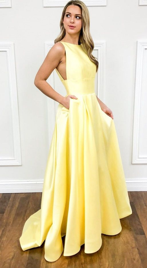Charming Yellow Long Prom Dress,A Line Long Evening Dress with Pockets 2019,Formal Dress Custom Size – prom