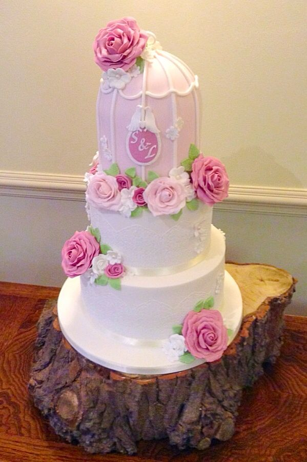 Vintage birdcage wedding cake in gorgeous pastels