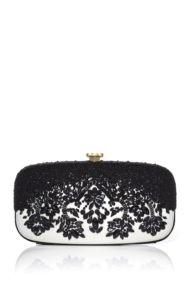Oscar de la Renta - Black & White Embroidered Goa Clutch