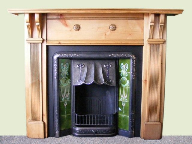 Edwardian Pine Fire Surround And Art Nouveau Tiled Insert