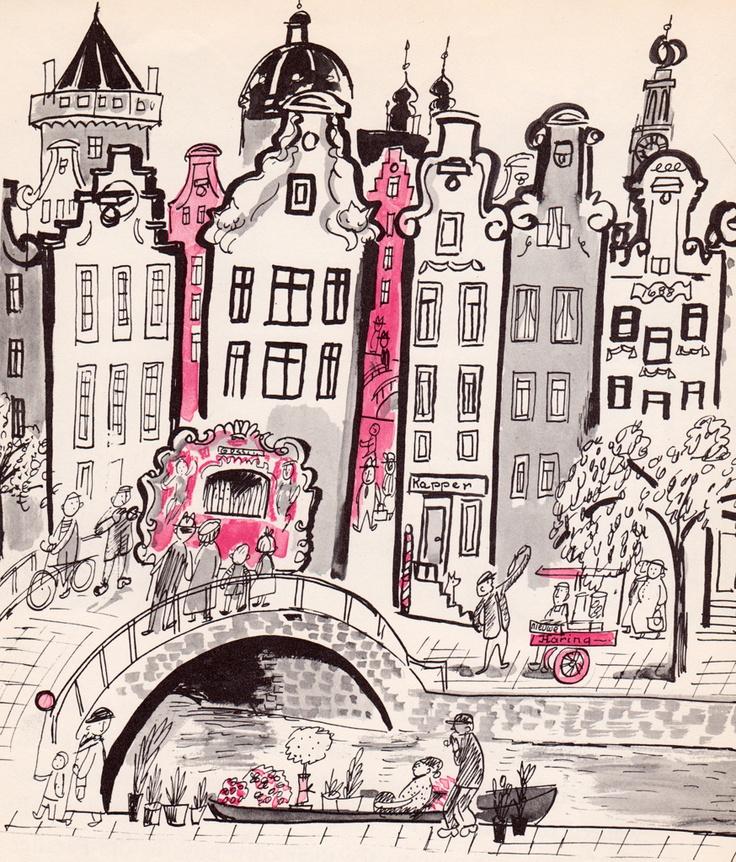 pink, gray, black - whimsical illustration