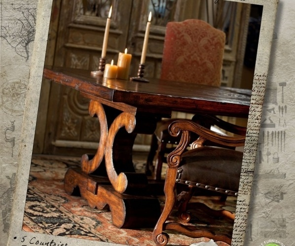 tuscan trestle table with extensions - Tuscany Dining Room Furniture