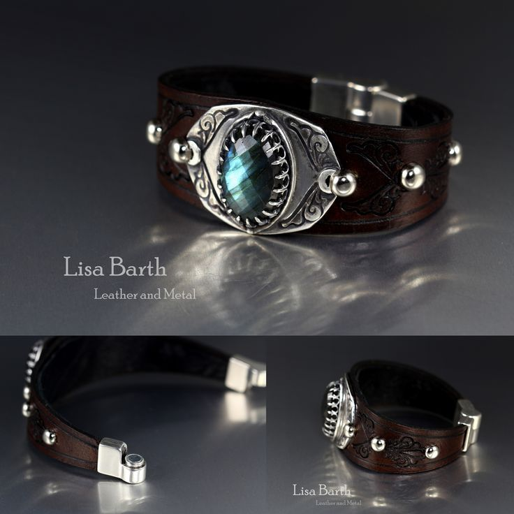Here is a beautiful Labradorite cab I bezel set in fine silver metal clay and a hand tooled leather bracelet made to fit.  The back is lined with sheepskin for comfort and durability.  :)  Lisa Barth