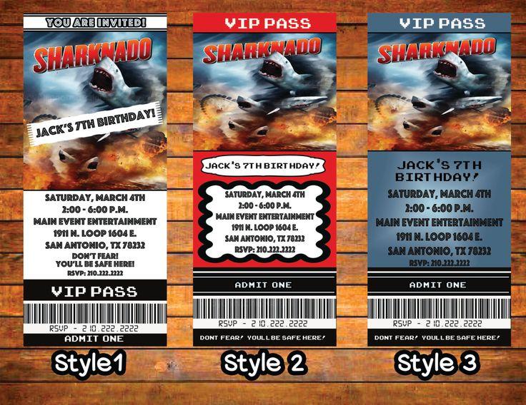 Sharknado Movie Ticket Personalized Digital Download Invitation Sharks by SoyChingona on Etsy