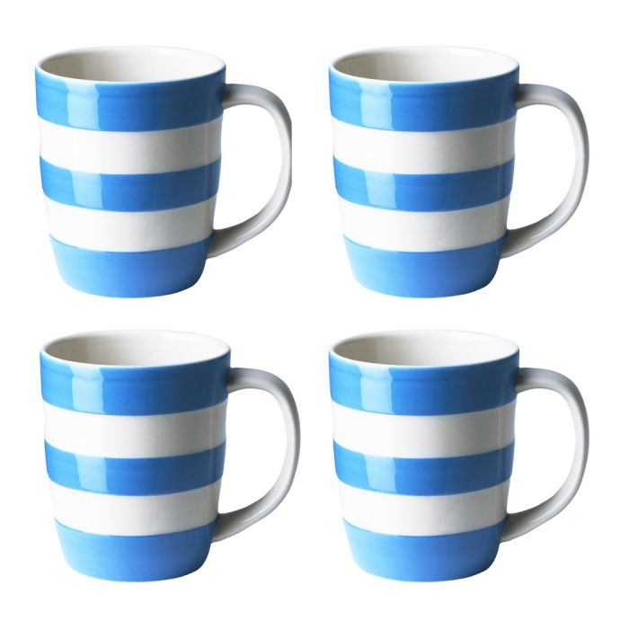Set of 4 Turkish Blue Mugs, 12oz/34cl - Cornishware® – Classic British Kitchenware by T.G. Green