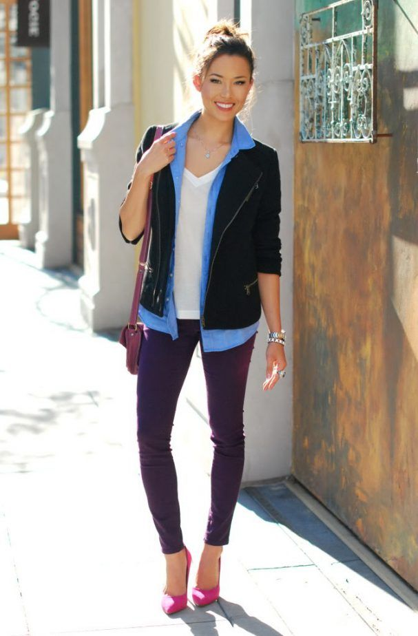 5. White T Shirt With Purple Skinny Pants 2017 Street Style