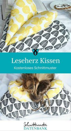 Leseherz Kissen Herzkissen nähen Schnittmuster kostenlos Geschenkidee Geschenk … – Sabine