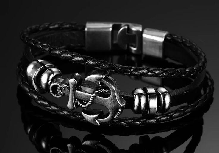 Vintage Anchor Bracelet Black Genuine Braided Leather – GaGodeal  – Men's Bracelets & Bangles