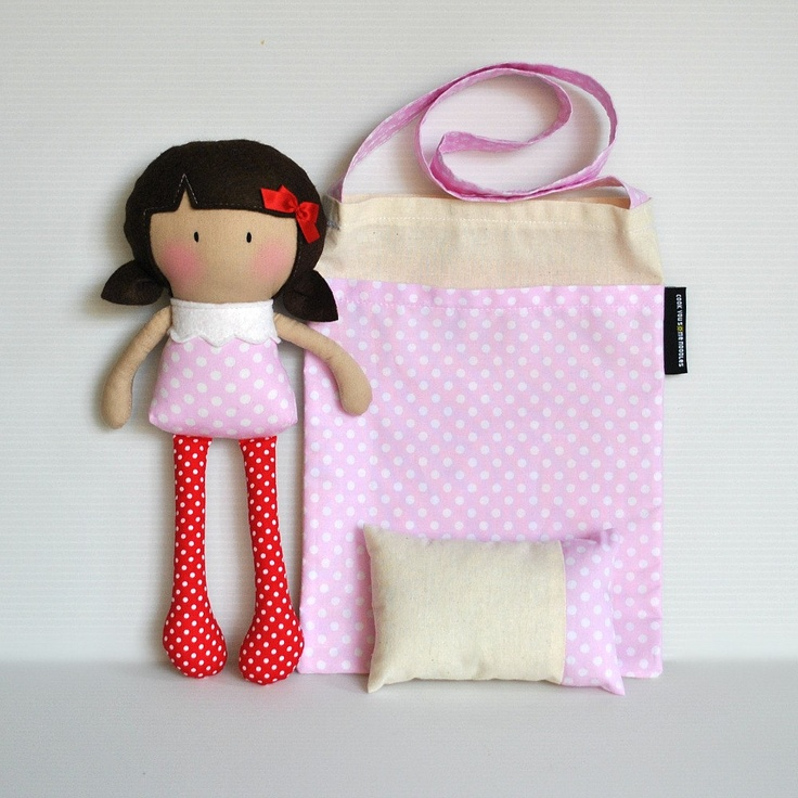 RESERVED for Deanna Wilson - My Teeny-Tiny Doll Rosy and Carry-Me Messenger Bag and Teeny-Tiny Pillow Set. $66.00, via Etsy.