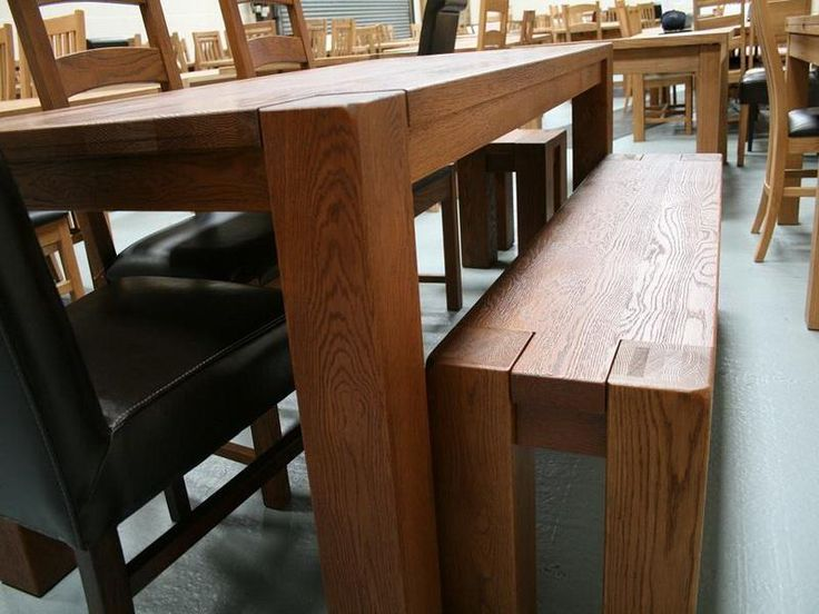 Dark Oak Dining Table With Bench And Stools
