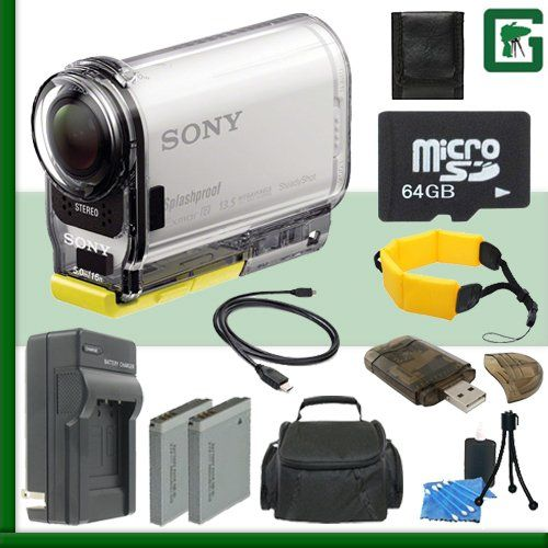 Sony HDR-AS100V HD POV Action Cam (White) + 64GB Green's Camera Bundle 3