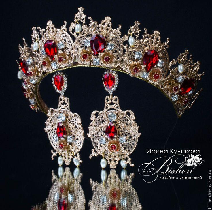 """Купить Корона и серьги """"Елизавета"""" - золотой, красный, короны, диадемы, тиары, роскошь, королевские украшения"""