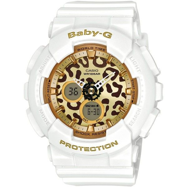 Baby-g Women's Analog-Digital White Bracelet Watch 46x43mm BA120LP-7A2 (£81) ❤ liked on Polyvore featuring jewelry, watches, white, leopard watches, leopard print jewelry, digital wrist watch, digital watches and g shock watches