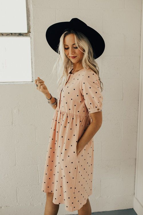 The Brandee Polka Dot Dress in Summer Rose | ROOLEE #ROOLEEfave