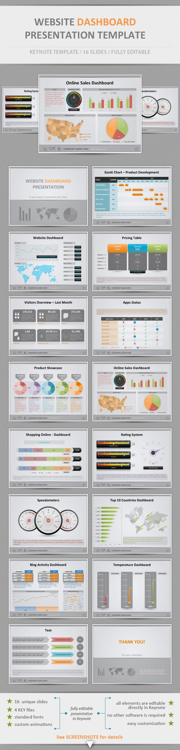 Website Dashboard Presentation Template — Keynote KEY #diagram #orange • Available here → https://graphicriver.net/item/website-dashboard-presentation-template/2103253?ref=pxcr