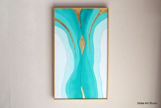 Abstract painting in a Gold frame. Bright Teal and White Turquoise wall art. Contemporary Wall Art. Gold metal leaf. Trending Wall Art.