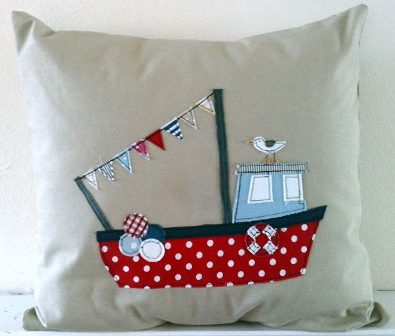 Handmade Fishing Boat and seagull cushion cover in by mojosewsew