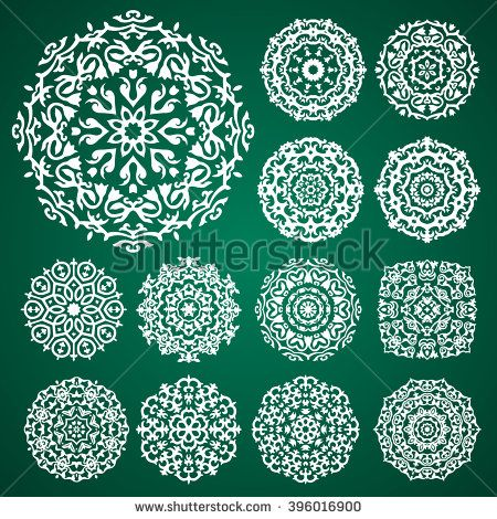 Vector Ornament Set With Caucasian Motifs On Green Background