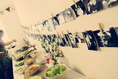 love the photo garland.. its pics of the couple - from birth to wedding date.. GREAT idea