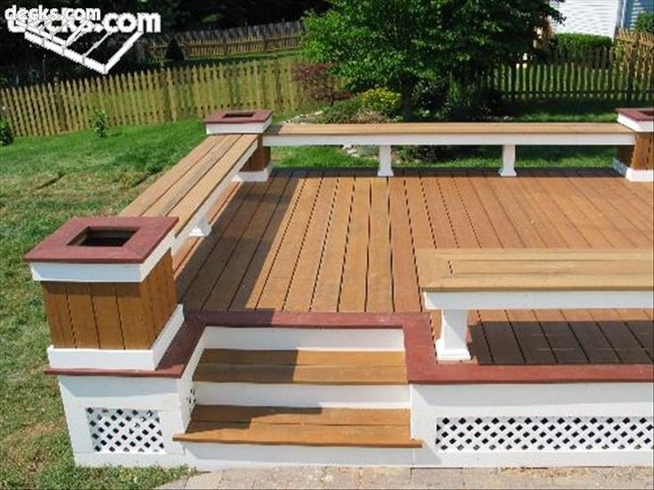 Built In Deck Benches Ideas | This Low Maintenance Bench Planter  Combination Uses 2 Tones Of