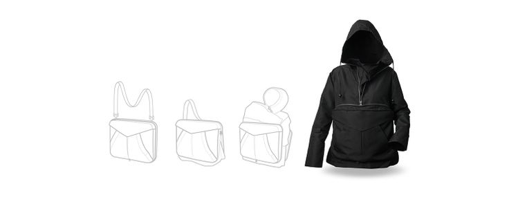 From jacket to bag. Just open a zipper: the bag becomes a waterproof jacket and your items will remain within... you can move freely! #bag #jacket #urban #metamorphosis #transformation #lifestyle #citylife #multifunctional #products #design #waterproof #ergonomics