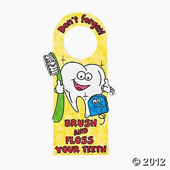 "Color Your Own ""Brush & Floss Your Teeth"" Door Hangers: Color"