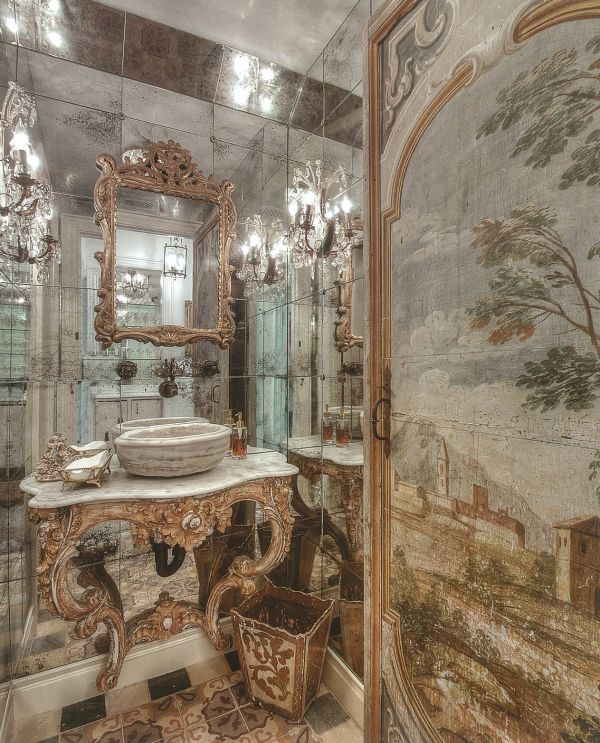 77 best images about powder bath on pinterest powder for Baroque style bathroom