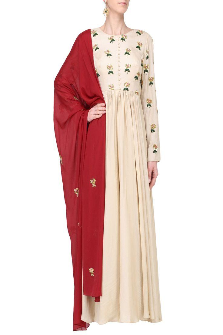 EASE Off White and Red Embroidered Anarkali Set. Shop now!  #ease #anarkali  #red  #offwhite #embroidery #weddings #indianfashion #indiandesigners #perniaspopupshop #happyshopping