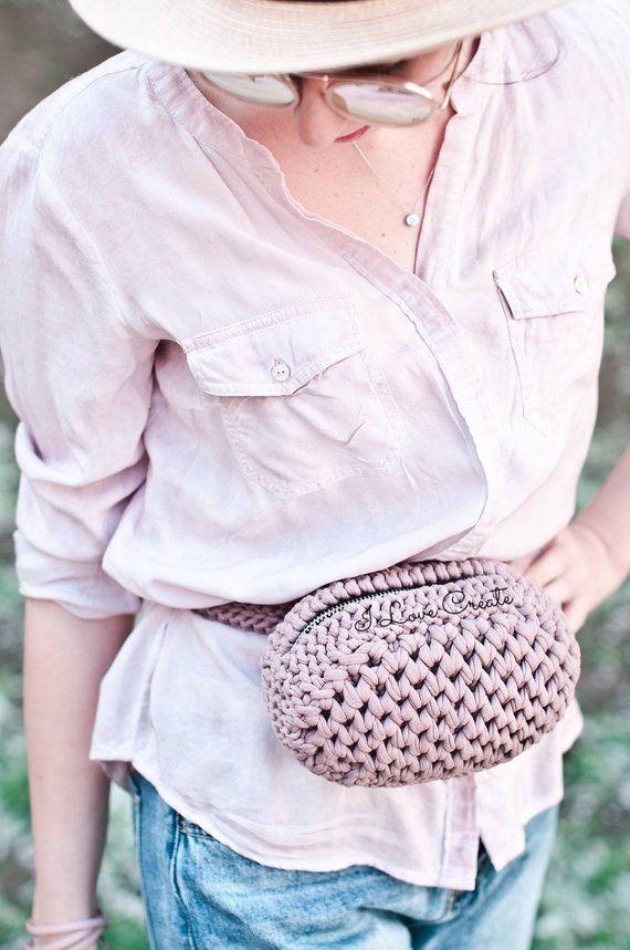 Cocoa handbag Crochet cross body bag Party clutch Small cotton