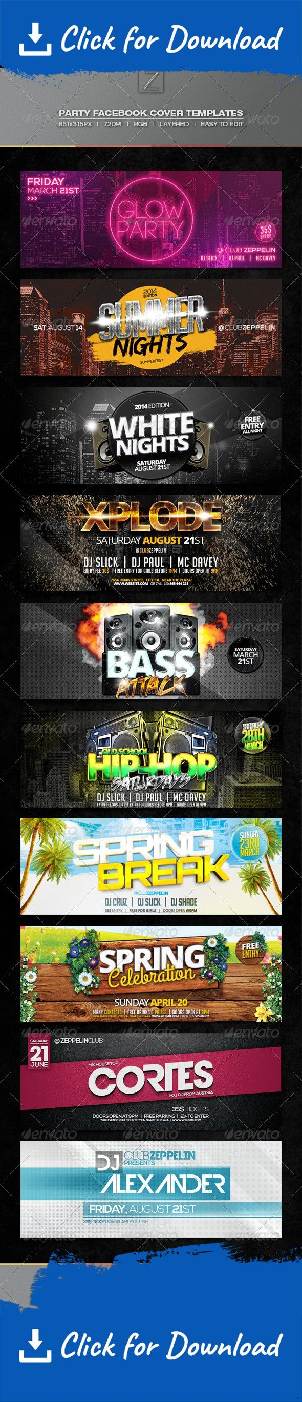 colorful, dj, event, event cover, facebook cover, Facebook timeline, glow party, hip-hop, holiday, music, party, party cover, spring, summer, timeline cover, zeppelin      Party Facebook Cover Templates   All of the facebook covers in this set also have flyer versions which you can find available for purchase in my portfolio.   Features:  PSD Files 10 Covers included Fully layered Well organised and named 72dpi RGB 851×315px Editable text  All text is editable. Free fonts used. Link...