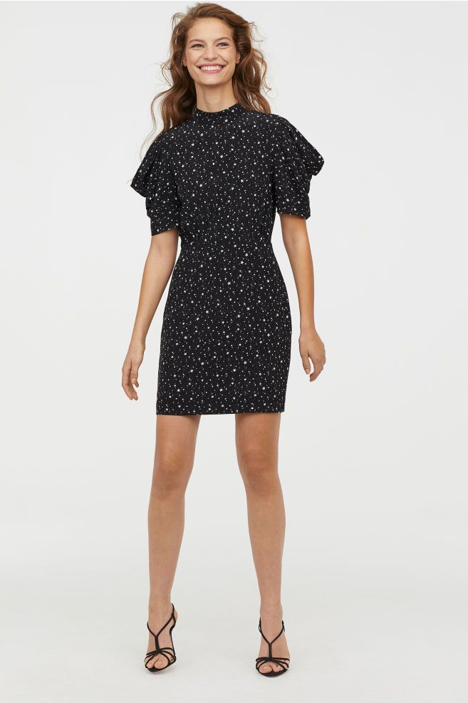 Puff sleeved Dress in 2019 | Dresses, Short fitted dress
