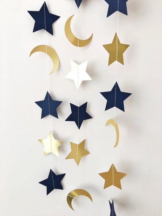 Moon Star Garland Navy Blue Gold Moon Star Baby Shower Decorations Little Star 1st Birthday Garland