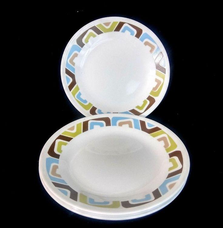 Corelle Squared Bread Dessert Plates Brown Blue Turquoise Green Rola Set of 4 #Corelle #Plates