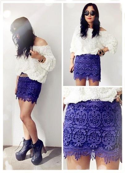 American Apparel Jumper + $39.99 Lace Skirt in purple:  http://www.ebay.com.au/itm/251045853278