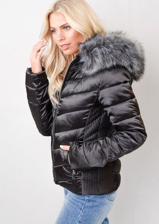 28605cf047 Satin Shine Faux Fur Hooded Padded Puffer Jacket Coat Black in 2019 ...