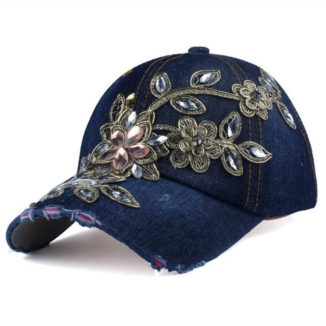 Baseball Cap with Flower Canvas Snapback Rhinestone Denim cap in ... aab3ffcbbcb2