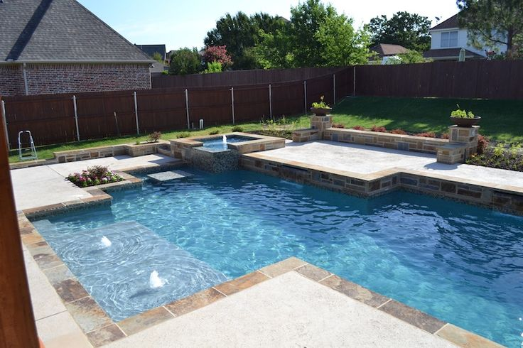 26 best images about pools on pinterest small yards for Pool design with tanning ledge