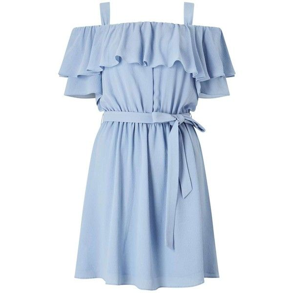 Blue Cold Shoulder Ruffle Dress ($32) ❤ liked on Polyvore featuring dresses, blue ruffle dress, miss selfridge dresses, frilly dresses, cut-out shoulder dresses and flouncy dress