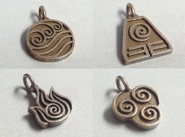Avatar The Last Airbender All Four Elements Stainless Steel 3D Printed Jewelry Pendants by GeekChicDigitalArt on Etsy https://www.etsy.com/listing/267458500/avatar-the-last-airbender-all-four