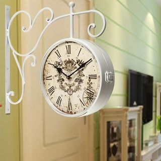 shop for adeco white iron round doublesided wall hanging clock with scroll wall mount