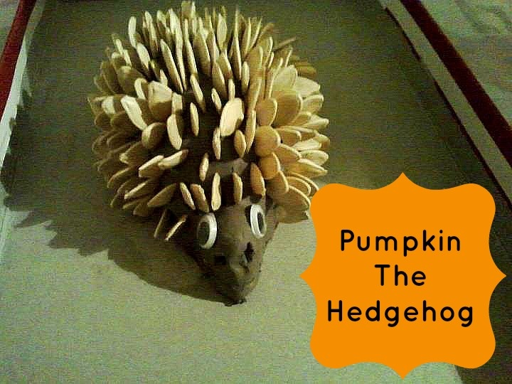 """Hedgehog sculpture - we use matchsticks with clay or playdough, but I like these pumpkin seeds too ("""",)"""