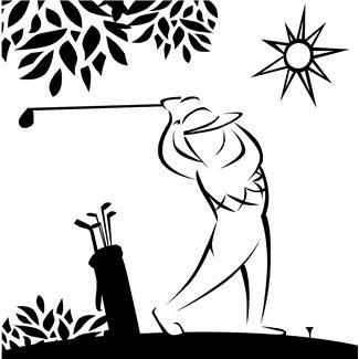 golf bags, golf clubs, golf courses, golfers, golfing, leisure, people, persons, recreation, sports, swinging