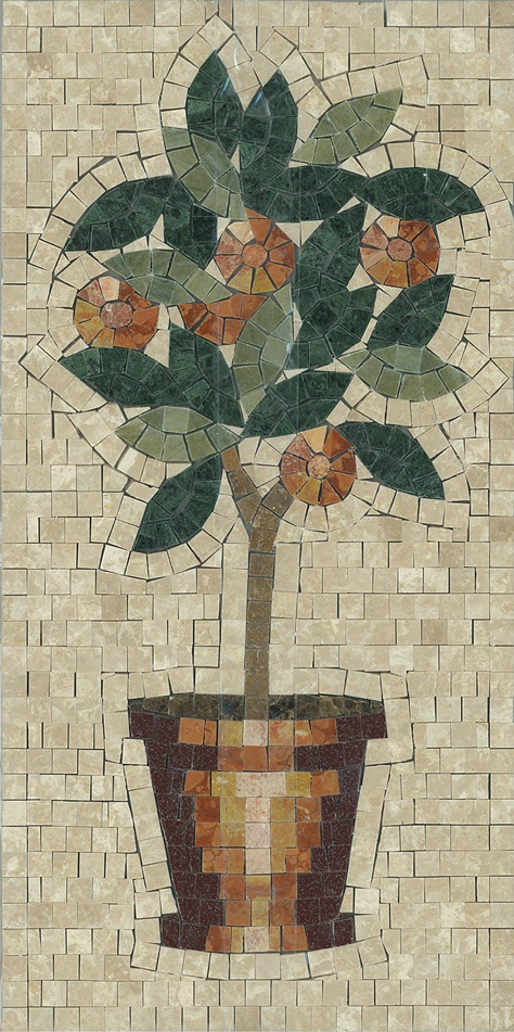 "Mini Orange Tree mosaic 12"" x 24"" by Appomattox Tile Art"