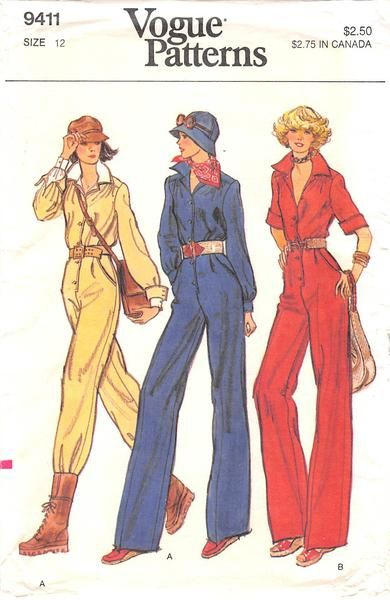 Semi-fitted jumpsuit with blouson bodice and straight-legged pants has convertible collar, one-piece yoke, front-buttoned closing, side front pleats stitched and released and side front slanted pocket