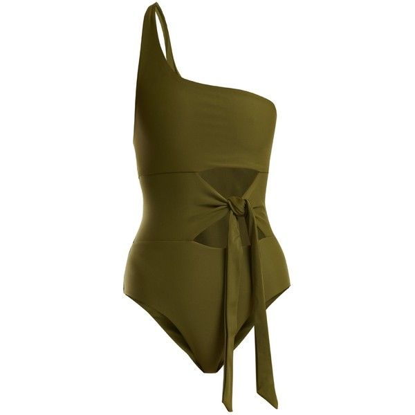 Jade Swim Collision one-shoulder swimsuit (655 BRL) ❤ liked on Polyvore featuring swimwear, one-piece swimsuits, dark green, cut-out bathing suits, cut-out one piece swimsuits, green one piece swimsuit, swimming costume and gold one piece swimsuit