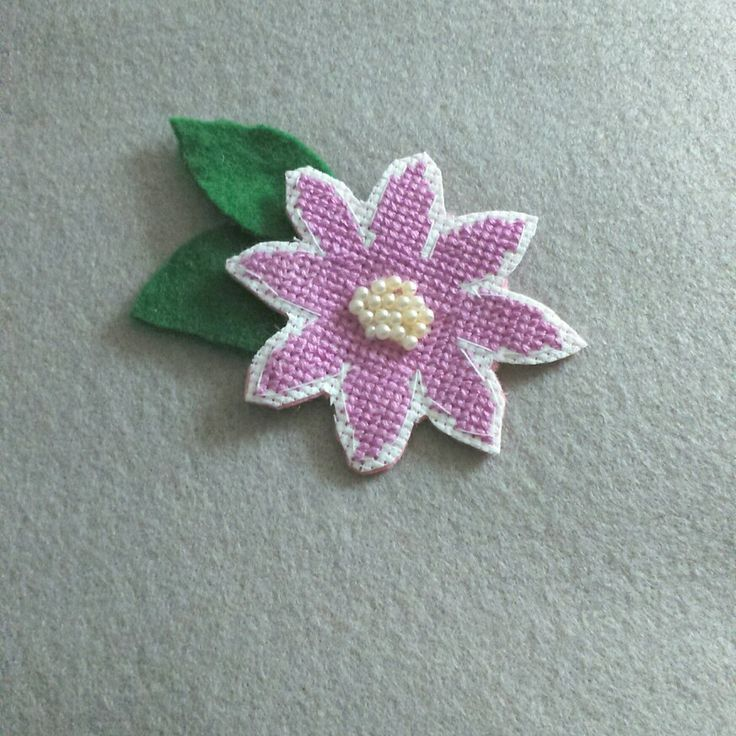 Cross stitch Pink Flower Brooch with little beads for center.