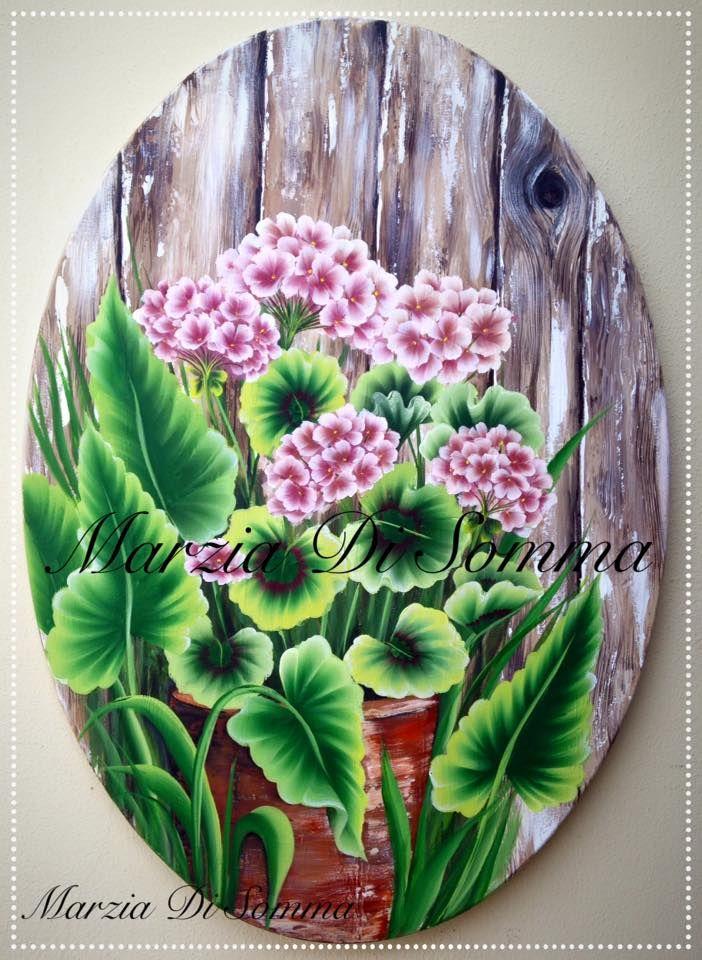 Geranium and wood effect di Marzia Di Somma Gerani e effetto legno su tela…