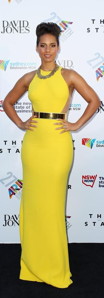 Alicia Keys's Stella McCartney Sleeveless Golden Belt Gown