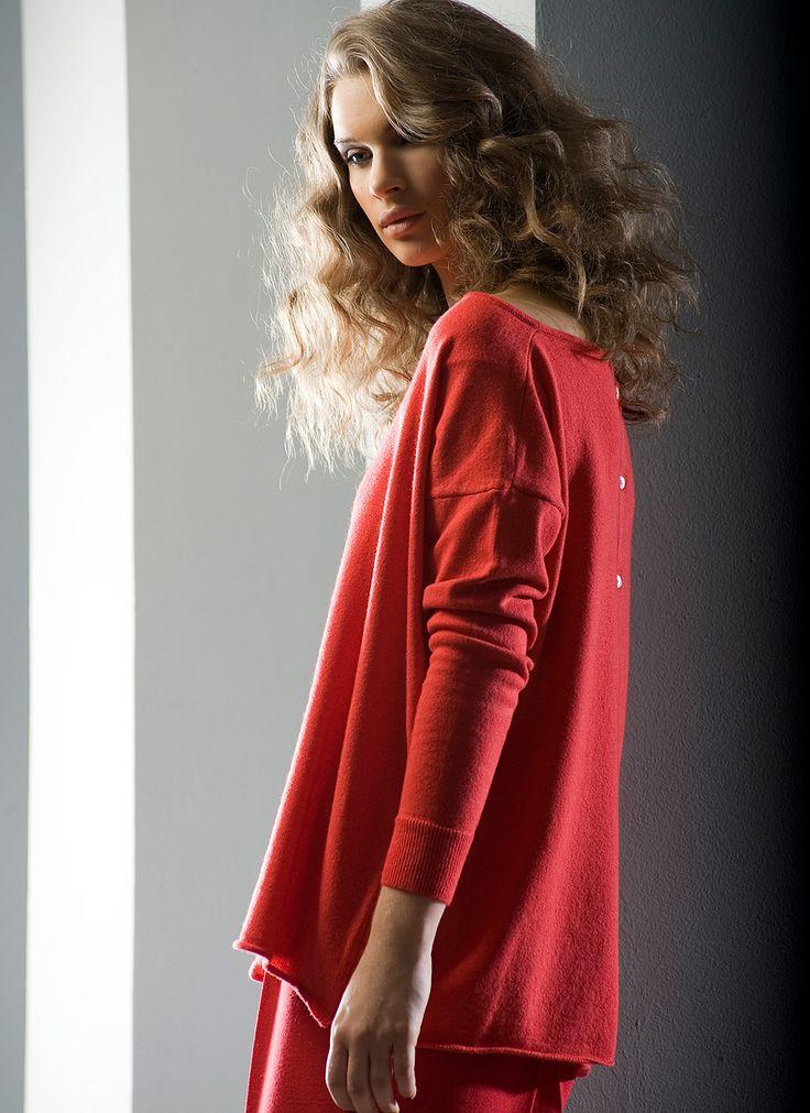 Herlig, lun og rød genser fra Cashmeritaly